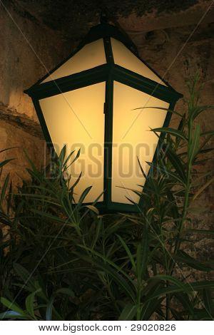 Street lamp glowing in the dark