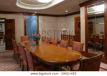 Boardroom ready for business meeting, horizontal