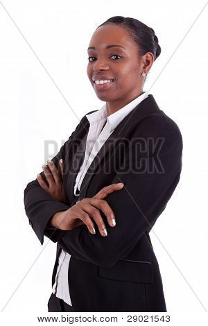 Smiling African American Businesswoman With Folded Arms