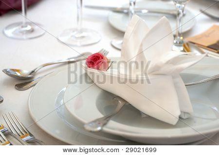 Napkin in the plate - wedding dinner
