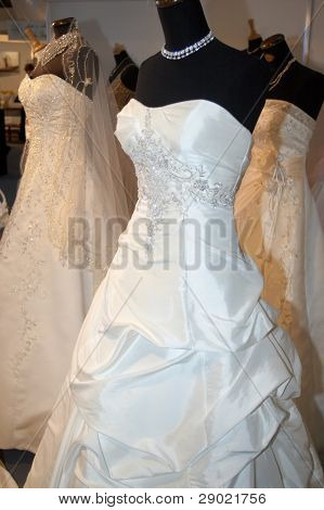 Beautiful weddings dress on a mannequin