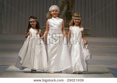 Three flower girls on a wedding