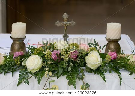 Altar decorated for the wedding ceremony