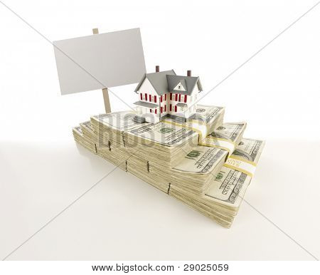 Stacks of One Hundred Dollar Bills with Small House and Blank Sign on Slight Gradation.