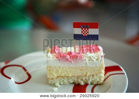 Croatian national cake with a flag