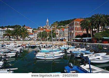 Marina on island of Hvar, Croatia