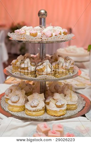 Tiered cream cakes