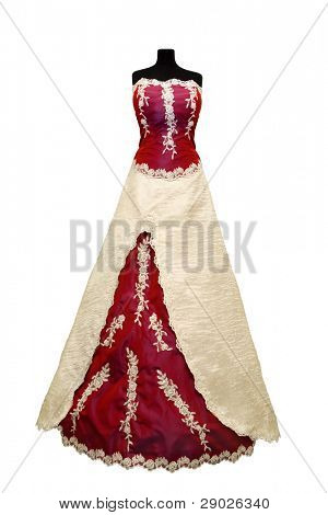 Weddings dress on a mannequin isolated on white