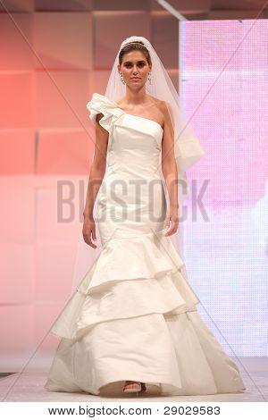 ZAGREB, CROATIA - FEBRUARY 4: Fashion model in wedding dress on 'Wedding days' show, February 4, 2011 in Zagreb, Croatia.