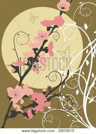 Pink Sakura Moon Swirl (Vector)