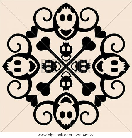 abstract skull and crossbones ornament