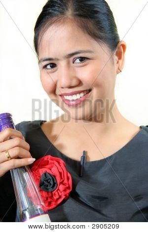 Bar Staff Holding Liqueur Botle