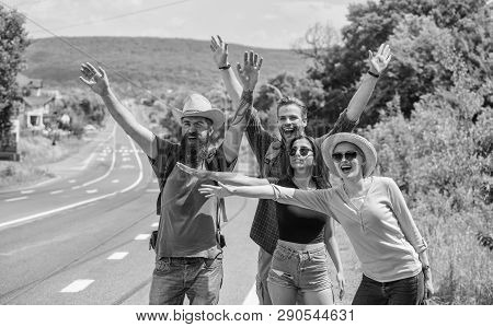 poster of Travellers Try To Stop Car. Friends Hitchhikers Travelling Summer Sunny Day. Company Friends Travele