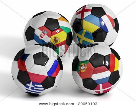 Four Isolated Soccer Balls With Flags Of European Countries.