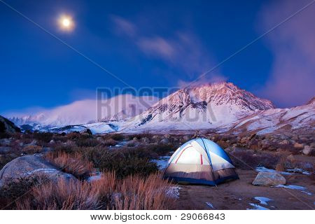 camping in the high mountains