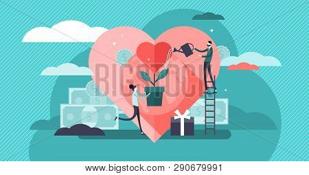 poster of Philanthropy Vector Illustration. Flat Tiny Voluntary Charity Persons Concept. Symbolic Love Of Huma