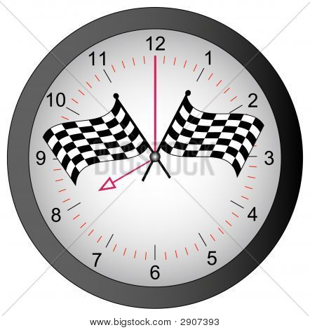 Clock With Checkered Flags