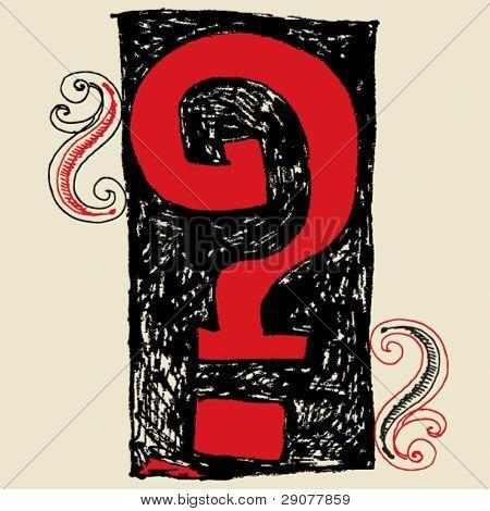 hand drawn alphabet, doodle interrogation