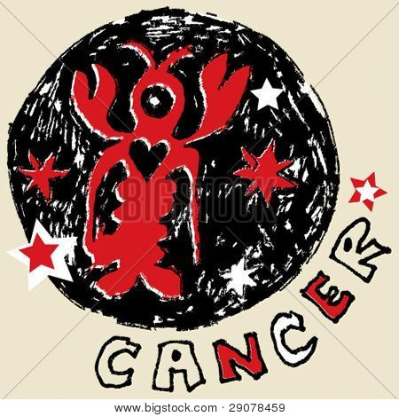 naive horoscope, hand drawn sign of the zodiac cancer