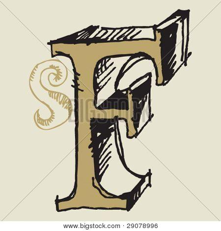 naive 3D alphabet, hand drawn letter F