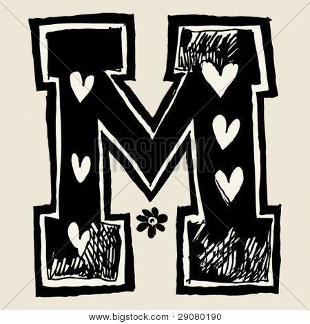 charcoal alphabet, doodle M