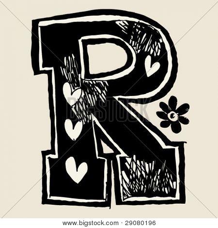 charcoal alphabet, doodle R