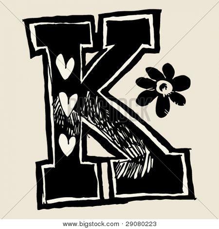 charcoal alphabet, doodle K