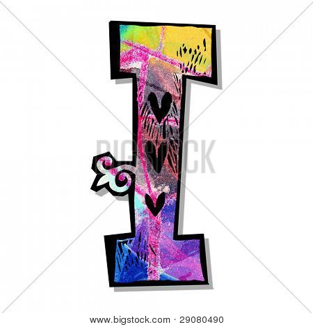 colorful alphabet, hand drawn letter I isolated on white background