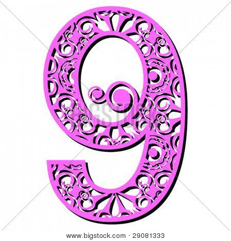 openwork numerals, number nine