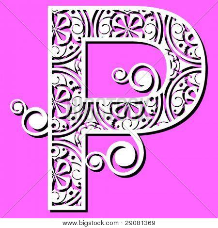 openwork alphabet, letter P