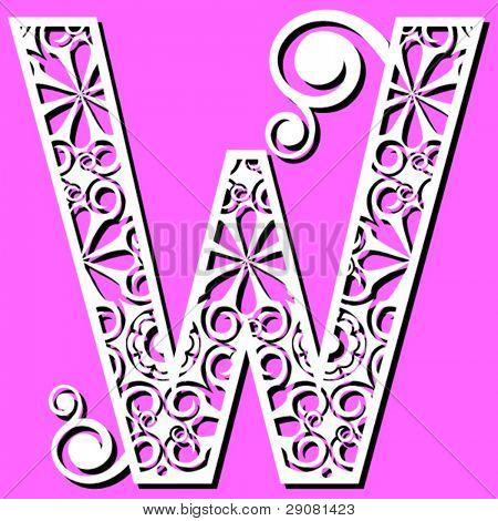 openwork alphabet, letter W