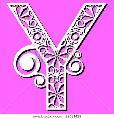 openwork alphabet, letter Y