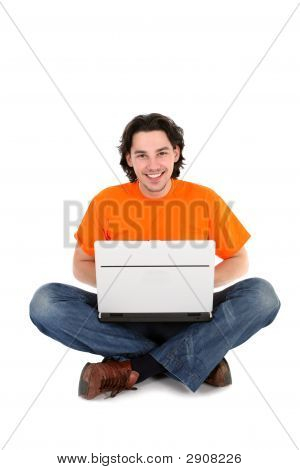 Young Man Using Laptop