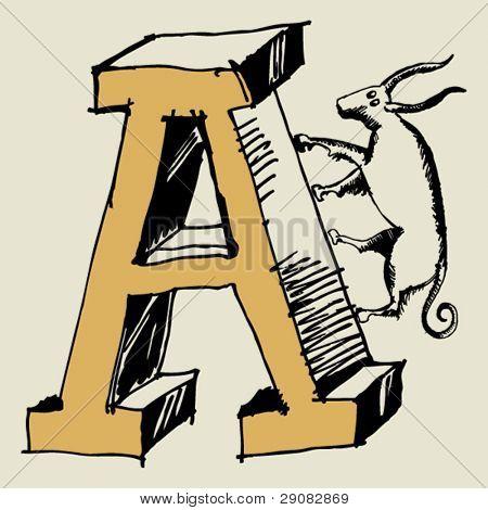 grotesque ABC, scribble letter A