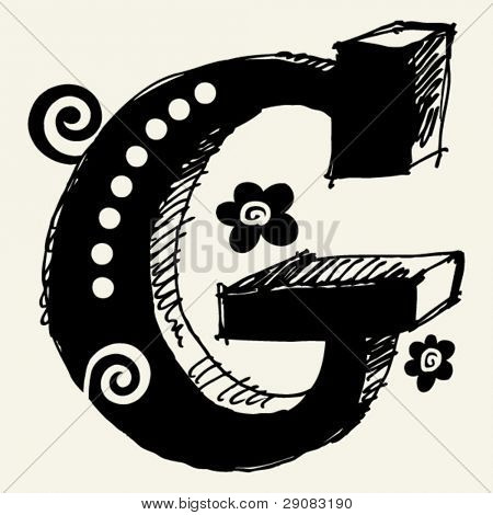 funny vector contre-jour ABC, hand drawn letter G