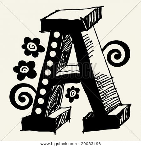 funny vector contre-jour ABC, hand drawn letter A