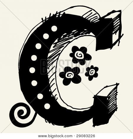 funny vector contre-jour ABC, hand drawn letter C
