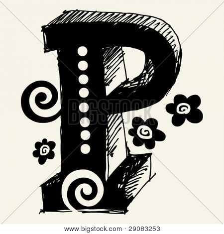 funny vector contre-jour ABC, hand drawn letter P