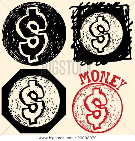 abstract hand drawn icons, doodle money