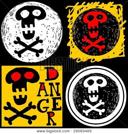 abstract hand drawn icons, doodle skull and crossbones