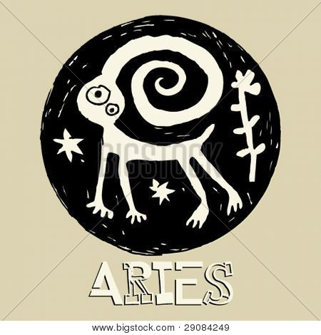 crazy horoscope, hand drawn sign of the zodiac Aries