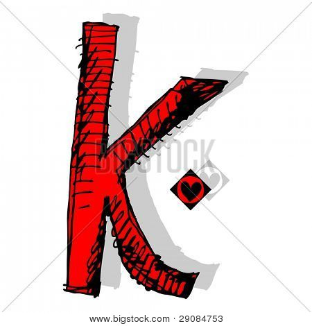 naive childish abc, hand drawn letter K isolated on white background