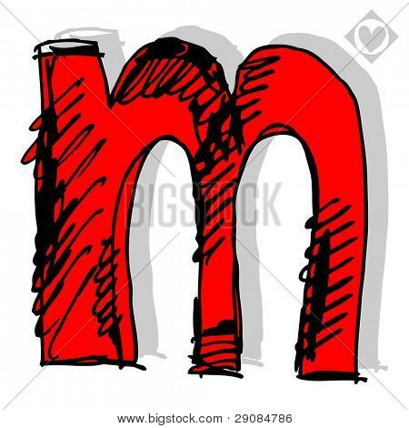 naive childish abc, hand drawn letter M isolated on white background