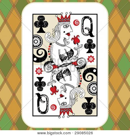 hand drawn deck of cards, doodle queen of clubs