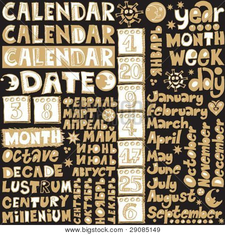 doodle calendar lettering, hand drawn design elements