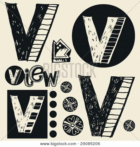 scribble alphabet, crazy doodle V