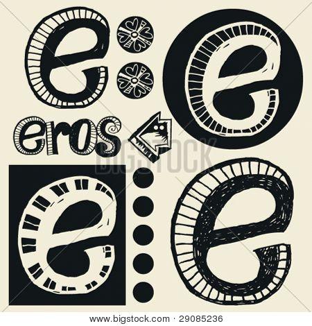 alfabeto de rabisco, doodle louco E