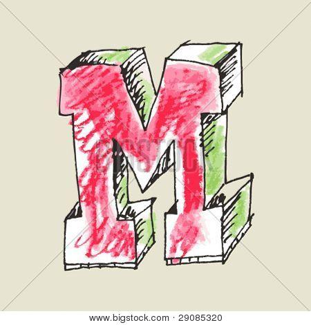 crayon alphabet, hand drawn letter M