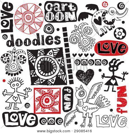 funny doodle set, hand drawn design elements