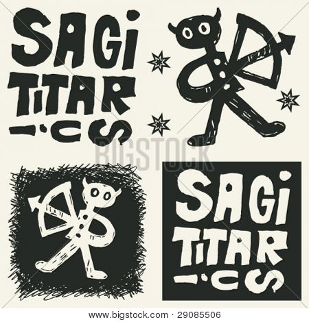 naive abstract horoscope, hand drawn sign of the zodiac sagittarius
